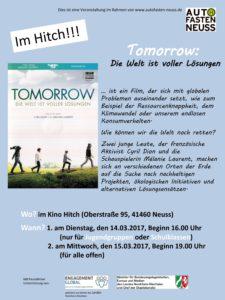 """Filmvorführung """"Tomorrow- Die Welt ist voller Lösungen"""" am 14. und 15.03.17"""