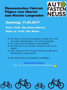Änderung beim ökumenischen Fahrrad-Pilgern am Samstag  11.03.2017