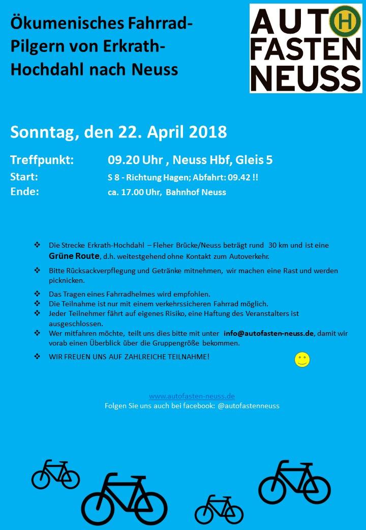 Terminänderung für Sonntag, 04. März 2018 – Ökumenisches Fahrrad-Pilgern